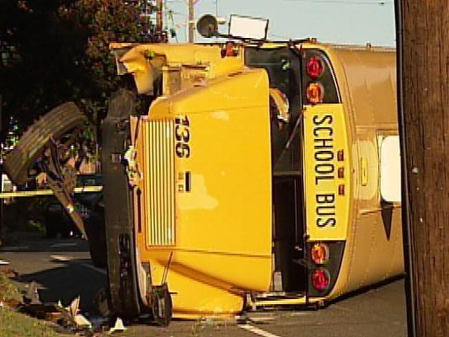 Philly Schoolbus Flips Over