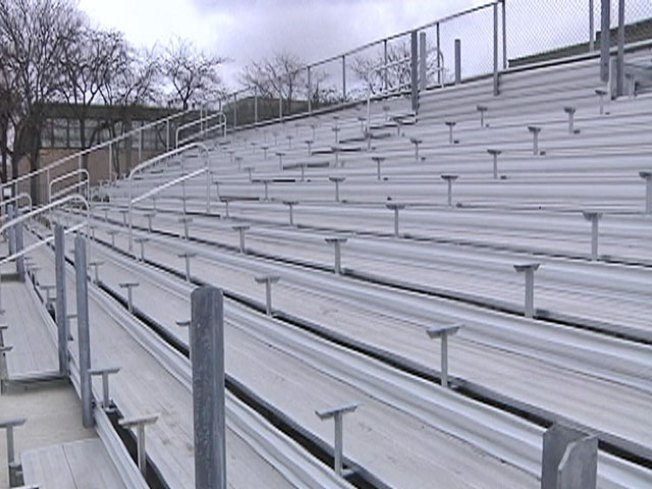 Men Allegedly Try to Scrap High School Bleachers