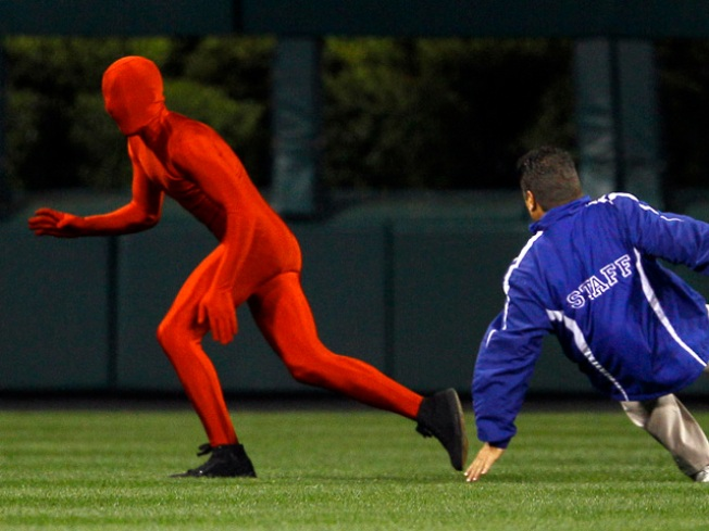 Bodysuited Phillies Field Jumper Gets Tripped Up