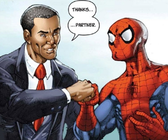 Obama Gives Spider-Man Fist Bump