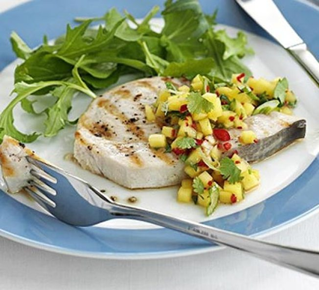 Seared Swordfish with Italian Style Broccoli Rabe & Seared Mango