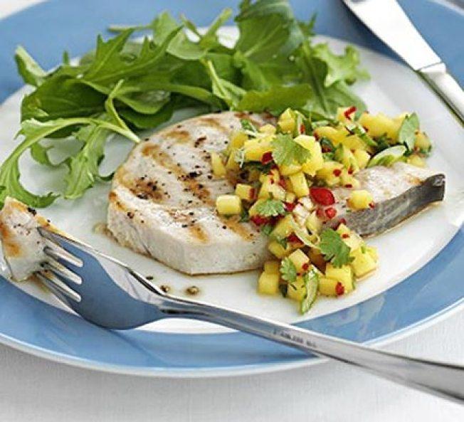 Seared Swordfish with Italian Style Broccoli Rabe & Seared Mango