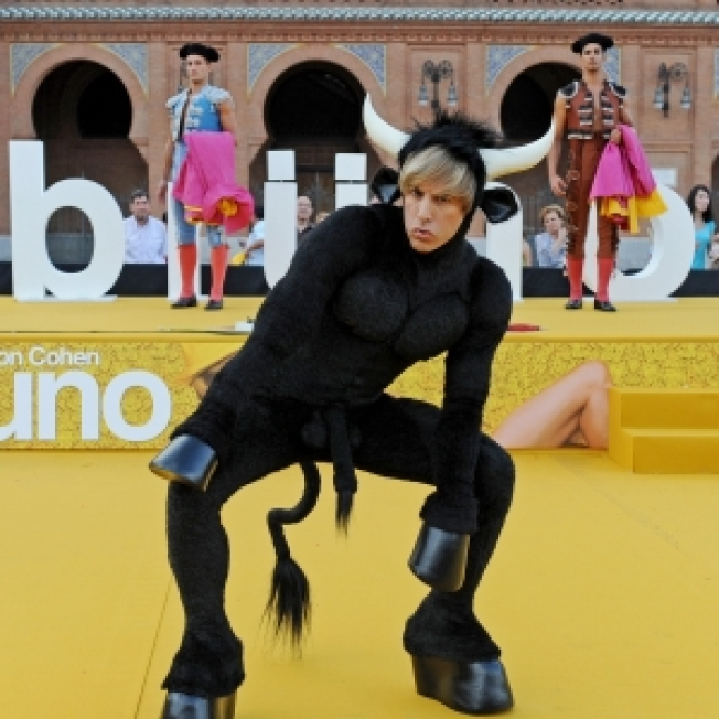 Sacha Baron Cohen Appears Dressed As A Bull In Front Of Spain's Premiere Bull Ring