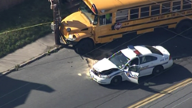 School Bus and Police Car Crash in Allentown