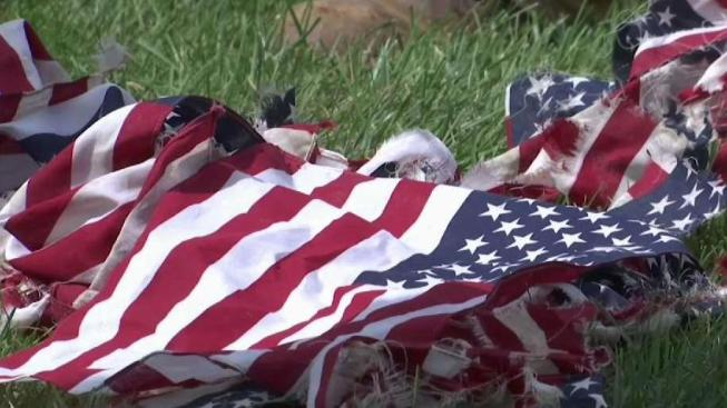 american flags honoring military at montgomery county cemetery