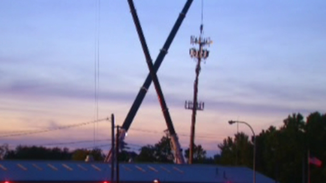 Fire-Damaged Cell Phone Tower Taken Down