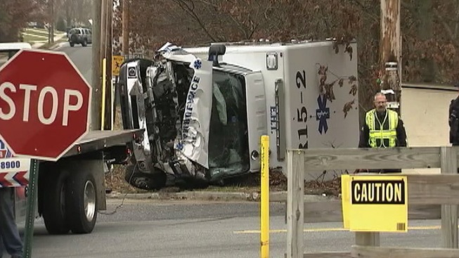 Ambulance Crashes, Flips Over in South Jersey