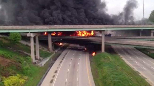 Tanker Fire Appears to Badly Damage Overpass