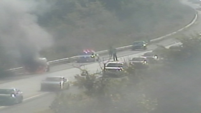 Car Catches Fire on I-95