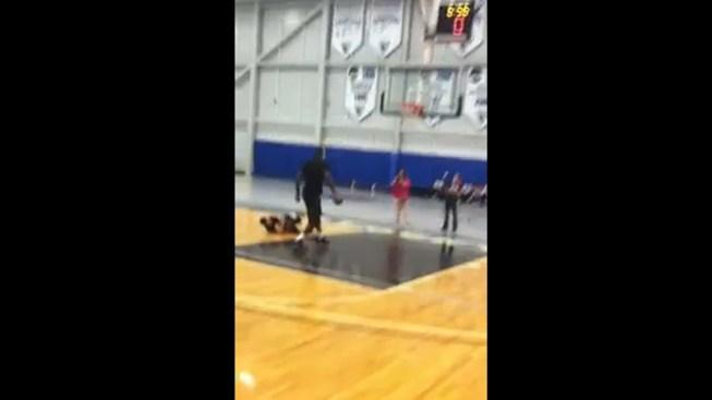 LeBron Knocks Down Boy at B-Ball Camp