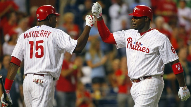 Mayberry Leads Phils Over Reds