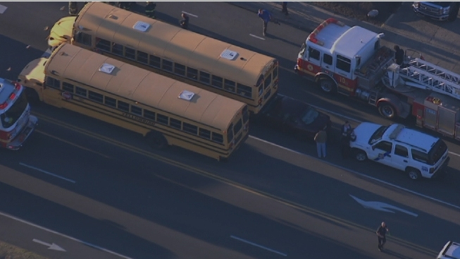 Driver Hurt After Car, School Bus Collide