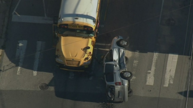 Woman Hurt After School Bus and Car Collide