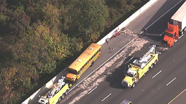 Tractor Trailer, School Buses, Car involved in Crash