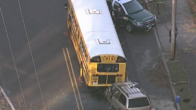 1 Hurt After Van Slams Into School Bus