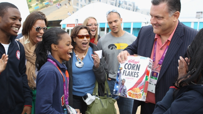 Gabby Douglas Celebrated With Corn Flakes