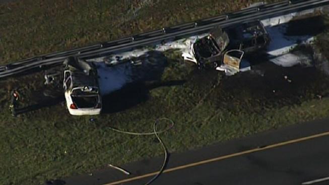 Fiery Crash Closes I-195