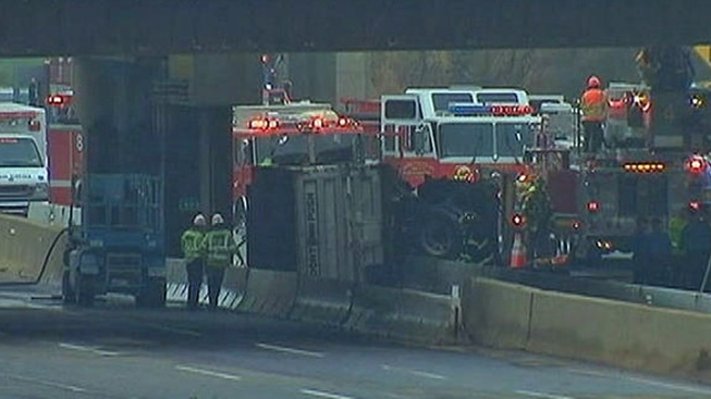Overturned Tractor Trailer On New Jersey Turnpike Closes