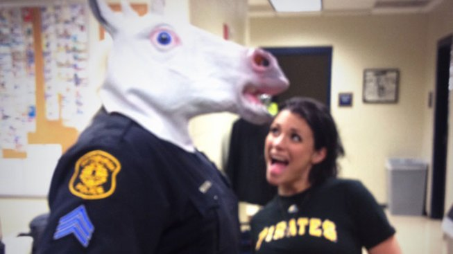 Pa. Officer Wearing Unicorn Mask in Trouble for Pic With Porn Star