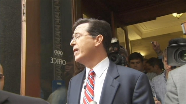 A crowd of Stephen Colbert fans sang happy birthday to him outside the Federal Election Commission, where he was <a href=