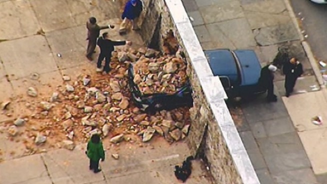 Car Crashes Into Wall at Local College