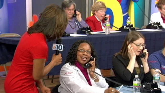 Call 1-877-NBC-WCAU to have your questions answered by local doctors and nurses. Phones are open until 6:30 p.m. NBC10's Lori Wilson reports.