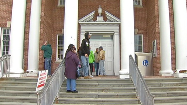 FEMA opened its first South Jersey Disaster Recovery Center in Cape May Court House Sunday morning. Folks lined up looking for federal help to get back on track after Sandy. NBC10's Christine Maddela reports.