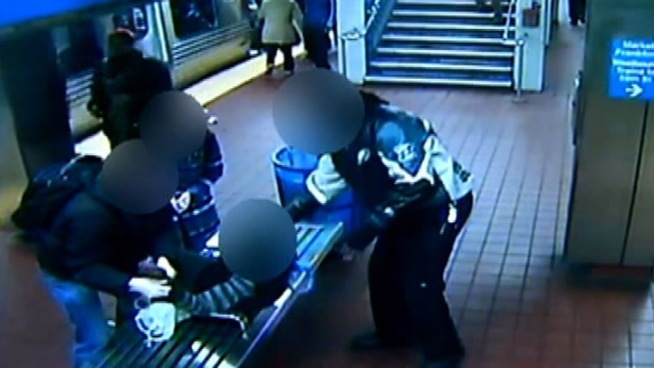 NBC10 has obtained exclusive surveillance video showing a SEPTA Police officer nabbing a robber. It happened at the 30th and Market Street station around 9 a.m. Thursday. Investigators say the robber tried to steal a cell phone from a University of Pennsylvania student. That's when authorities say plain clothes Sgt. Tim Catto sprang into action and subdued the 14 year-old suspect. During a struggle a man stepped in to help Catto. The teen was taken into custody. His accomplice ran off.