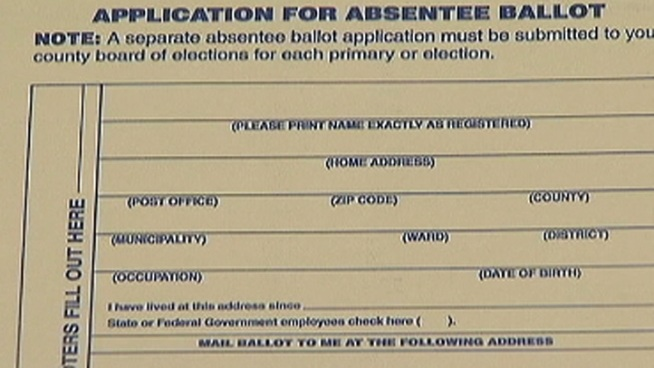 The absentee ballot applications at the Bucks County Democratic Headquarters don't ask for a driver's license number or the last four digits of the applicants social security number, which are required by the new Pennsylvania voter ID law. NBC10's Doug Shimell reports.