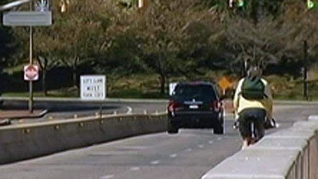 Frank Pavlick was riding his bike on the Fahy Bridge in Bethlehem when he was struck by a car. The driver allegedly tried to get away, but with the help of another motorist and a bus driver he was caught. NBC10's Doug Shimell shares the story.