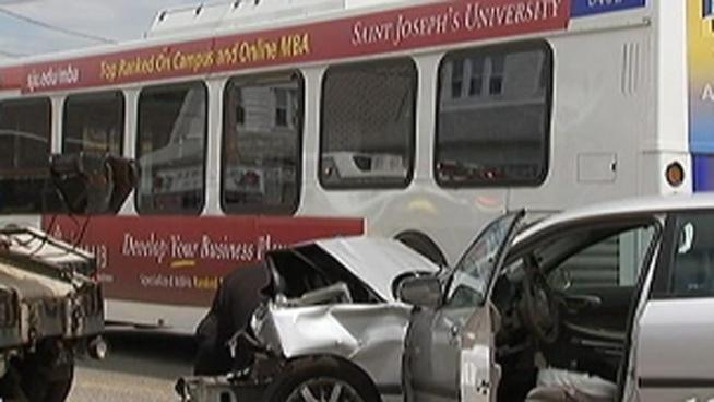 A SEPTA Route 131 bus and a silver Chevrolet collided Friday afternoon on the 1200 block of MacDade Boulevard in Collingdale, Pa. 14 people were injured in the crash including both drivers. NBC10's Deanna Durante reports.