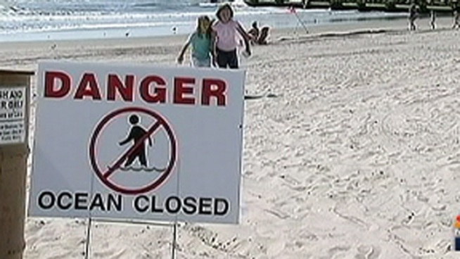 No swimming is allowed in Ocean City, N.J. from Stenton Place to Delancey Place. According to Ocean City officials a sewer overflowed into the street and some of the sewage flowed through the storm drain and into the ocean. NBC10's Ted Greenberg spoke to disappointed shore goers.