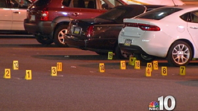 Police say a 45-year-old man was shot multiple times in front of a South Philadelphia Walgreens while walking with his 5-year-old son. NBC10's Claudio Rivero reports.