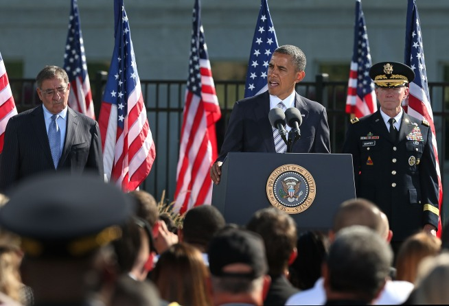 President Barack Obama spoke to family members during a ceremony at the Pentagon on the anniversary of the Sept. 11 attacks.