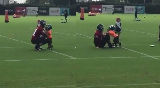 Carson Wentz Already Getting Sacked at Training Camp by Unlikely Little Baller