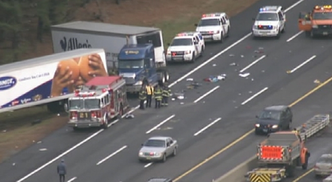 Police say three people killed in a crash on the New Jersey Turnpike were parents and a son from Stone Mountain, Ga., the daughter survived. NBC10's Tim Furlong reports.