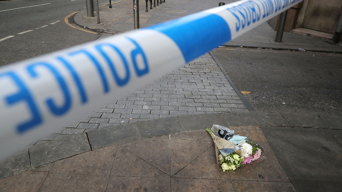 Flowers left in tribute on Tuesday, May 23, 2017, to the victims of a terrorist suicide bombing at the Manchester Arena, in Manchester, England. More than 20 people were killed after an Ariana Grande concert finished.