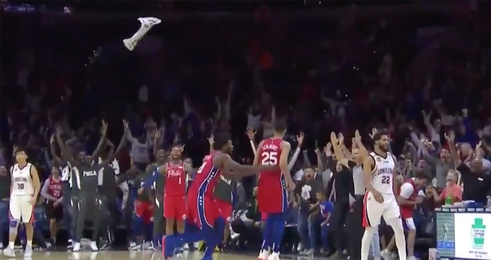 Ben Simmons Drains 3-pointer in Sixers' Preseason Game to Send Wells Fargo Center Into Frenzy