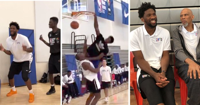 Joel Embiid Is Having a Blast Dunking on Fools While in Africa