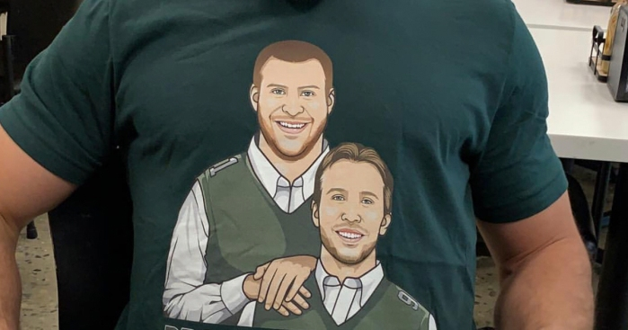 Carson Wentz s Priceless Reaction to Chris Maragos  Funny Shirt ... 45ab0f23a