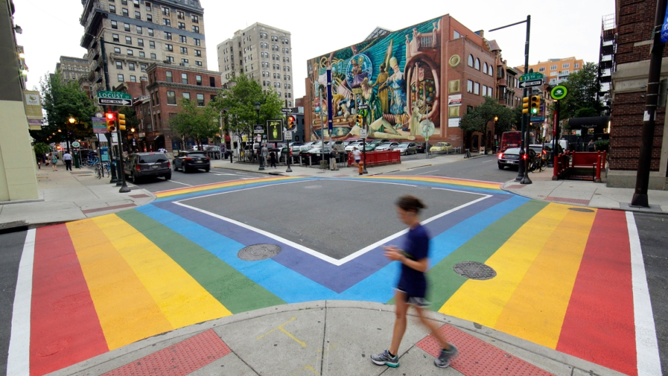 New Rainbow Crosswalks Support Philadelphia's LGBT Community