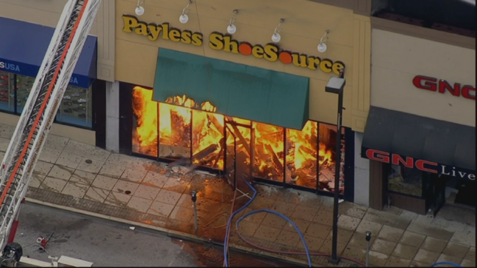 Fire Starts at Payless Shoe Store