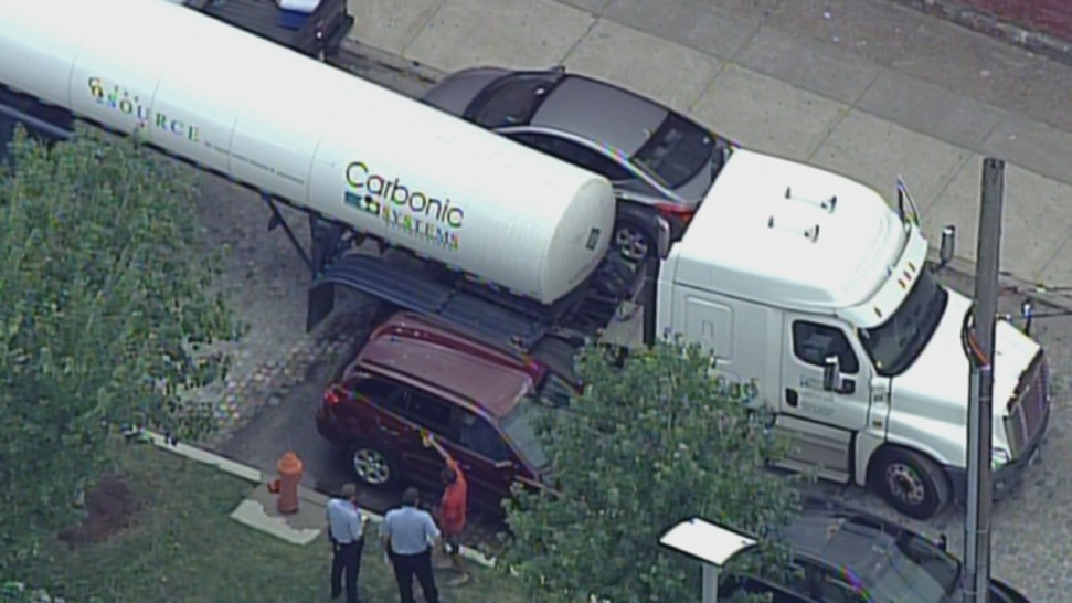 Possible Chemical Leak After Car and Tanker Collide
