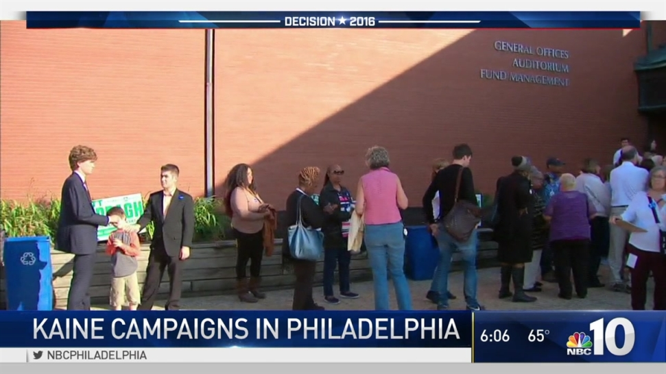 Tim Kaine Campaigns In Philadelphia Day After Vice