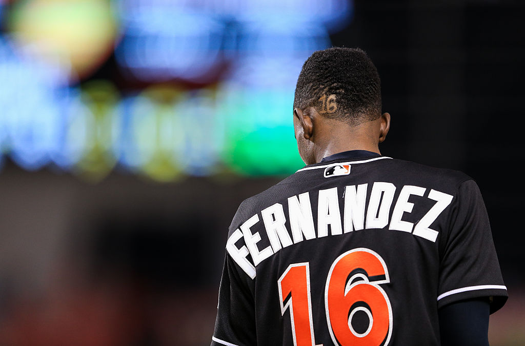 Dee Gordon of the Miami Marlins wearing a Jose Fernandez jersey in honor of the late pitcher during the game against the New York Mets at Marlins Park on September 26, 2016 in Miami, Florida. (Photo by Rob Foldy/Getty Images)
