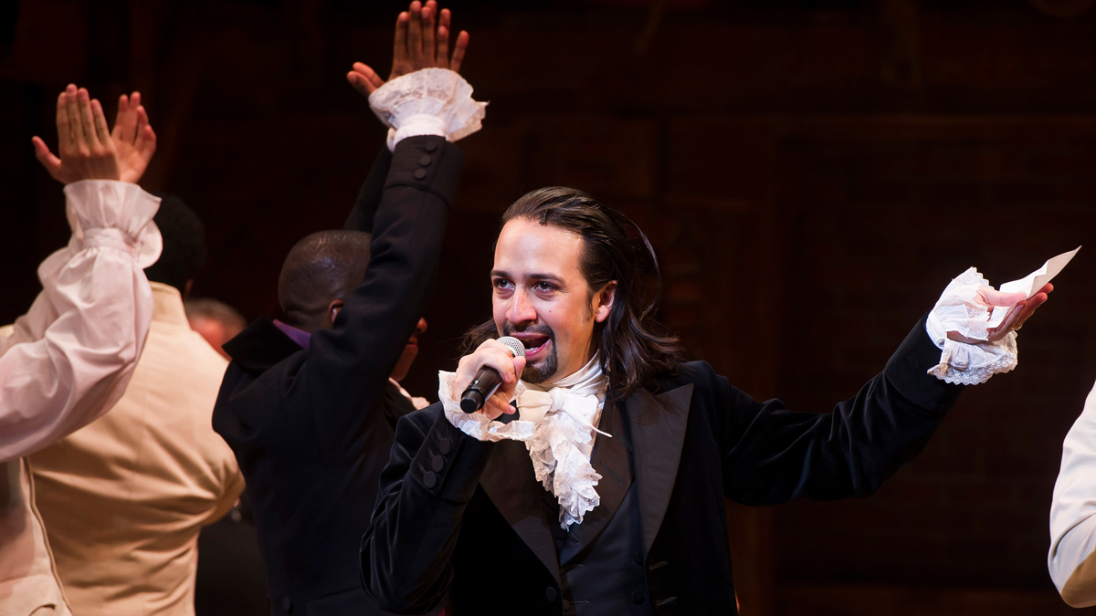 In this Aug. 6, 2015 file photo, Lin-Manuel Miranda appears at the curtain call following the opening night performance of