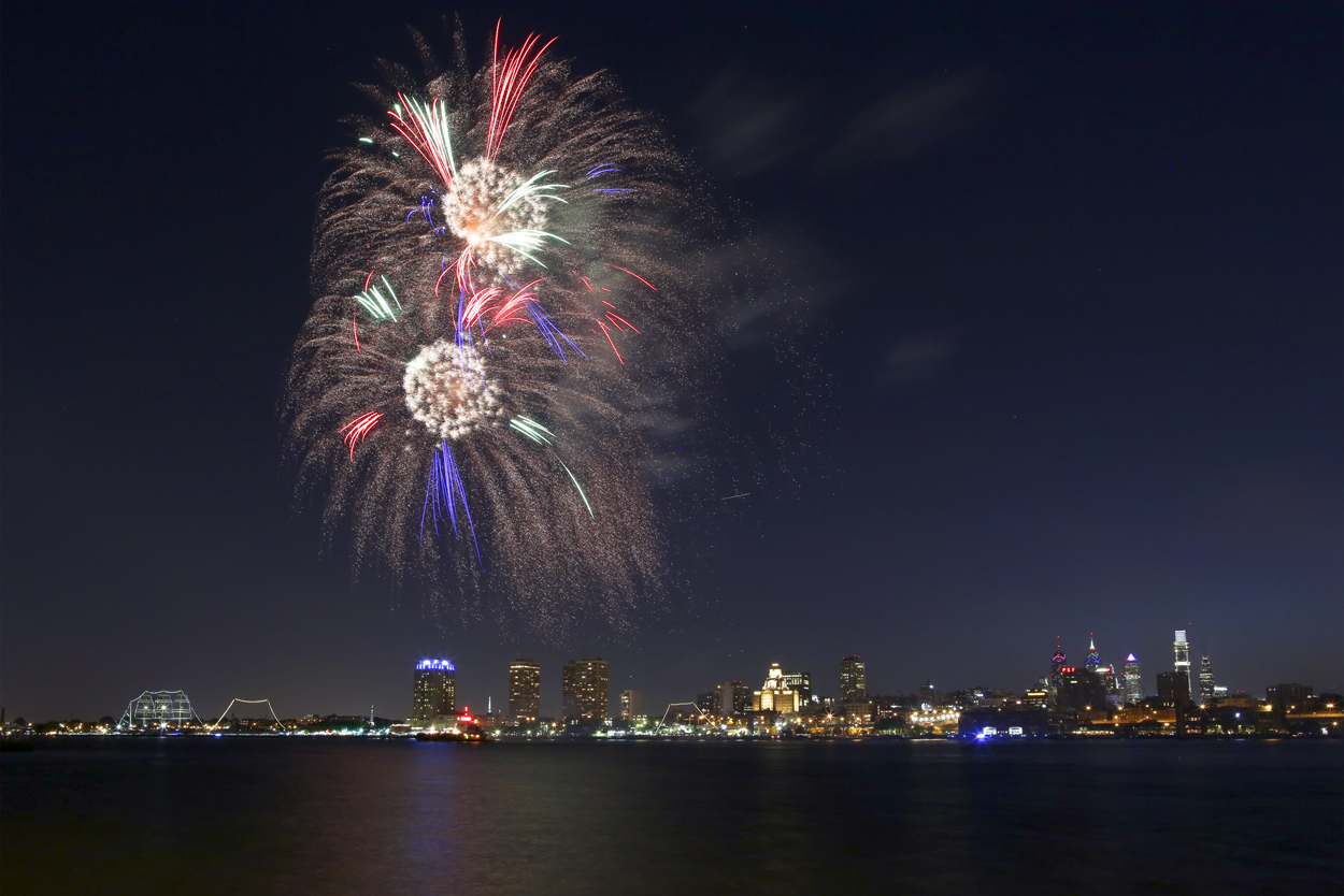Fireworks explode over the Delaware River during the Wawa Welcome America concert with the Philadelphia Orchestra and fireworks display, Friday July 1, 2016, at Penn's Landing in Philadelphia. (NBCPhiladelphia/ Joseph Kaczmarek)