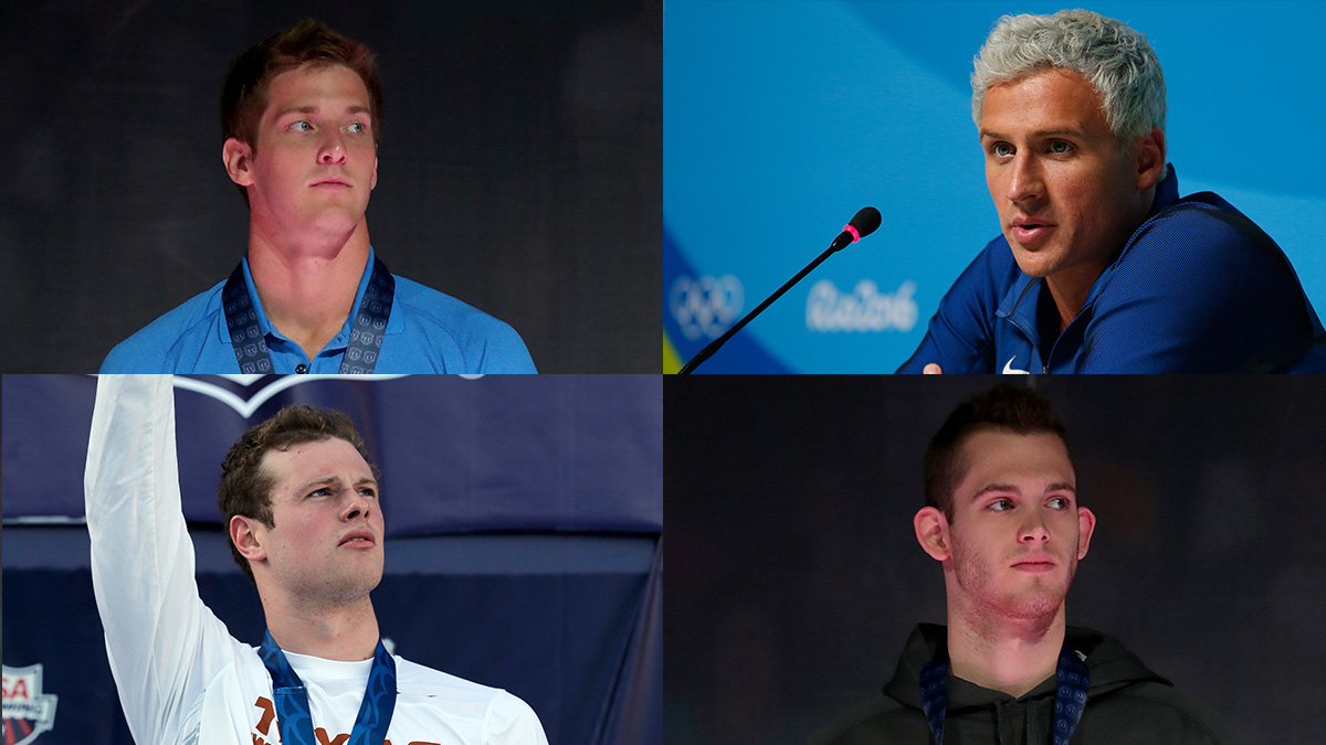 (Clockwise from top left) Jimmy Feigen, Ryan Lochte, Jack Conger, Gunnar Bentz.