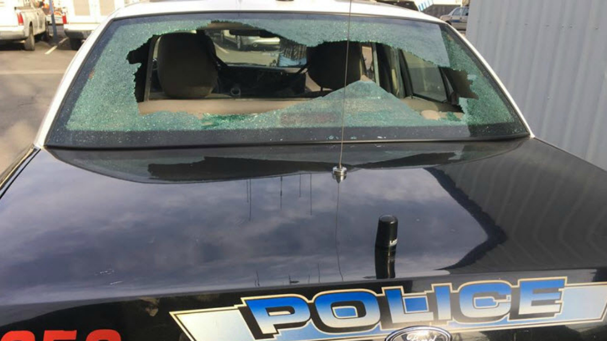 A Madera police patrol car was struck by bullets after a shootout during a civilian ride-along. Oct. 23, 2016