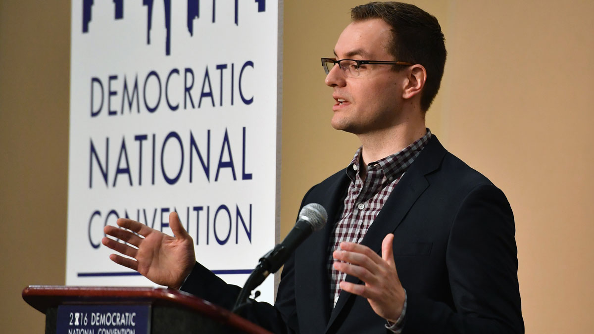 File- Robby Mook speaks at a news conference on July 25, 2016 in Philadelphia, Pennsylvania.